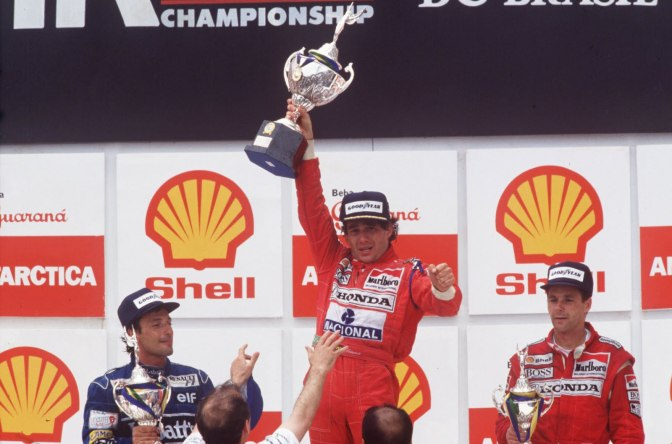 1991: AYRTON SENNA OF BRAZIL CELEBRATES AFTER WINNING THE 1991 BRAZILIAN GRAND PRIX. SENNA WENT ON TO WIN THE 1991 WORLD CHAMPIONSHIP. Mandatory Credit: Pascal Rondeau/ALLSPORT