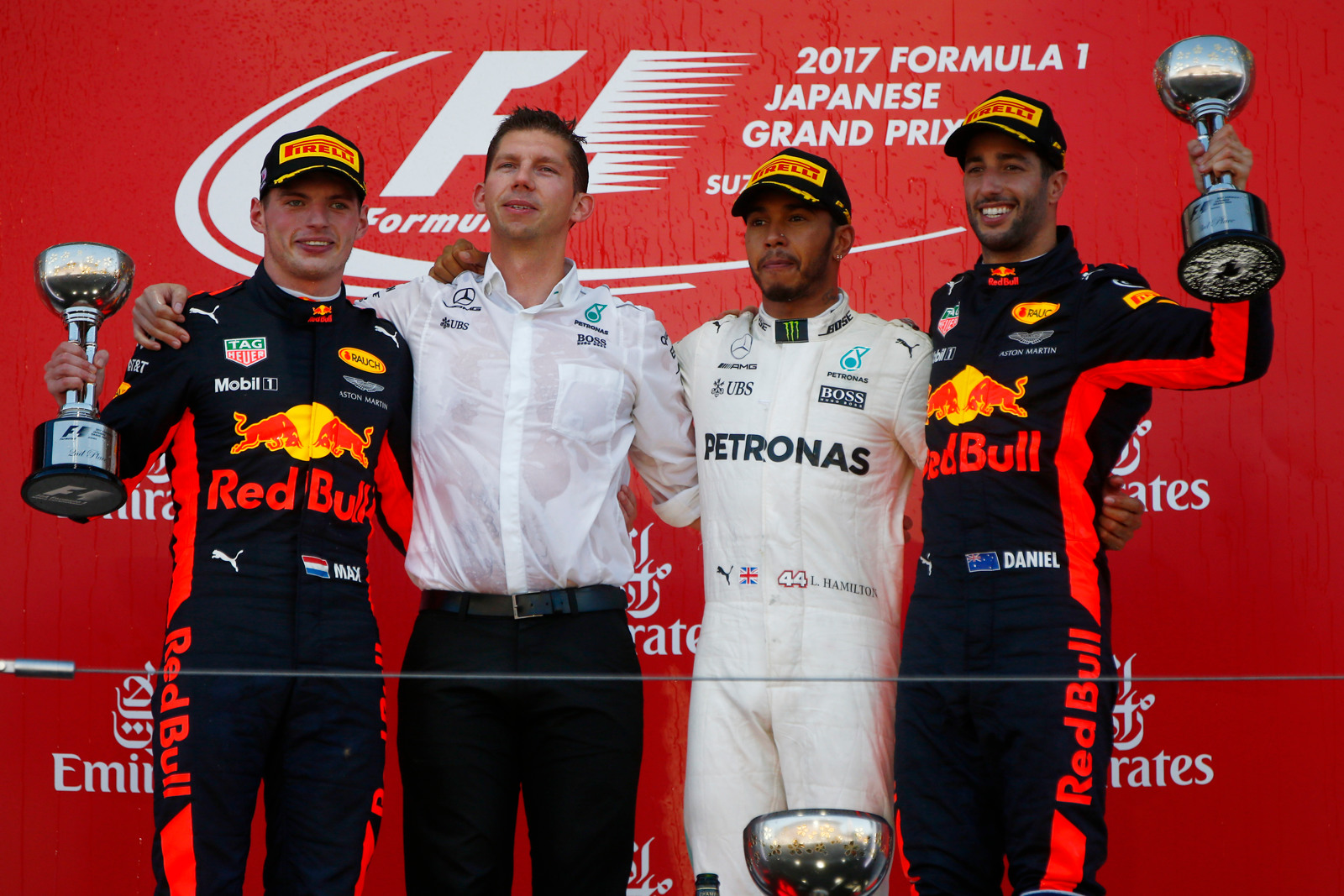 Suzuka Circuit, Japan. Sunday 08 October 2017. Winner Lewis Hamilton, Mercedes AMG, celebrates on the podium with James Vowles, Strategist, Mercedes AMG, Max Verstappen, Red Bull Racing, and Daniel Ricciardo, Red Bull Racing. World Copyright: Andy Hone/LAT Images ref: Digital Image _ONY8849