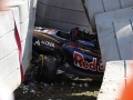 Sochi Autodrom, Sochi, Russia. Saturday 10 October 2015. The car of Carlos Sainz Jr, Toro Rosso STR10 Renault is removed rfom the Tec-pro barrier after his crash. World Copyright: Steven Tee/LAT Photographic. ref: Digital Image _L4R4227