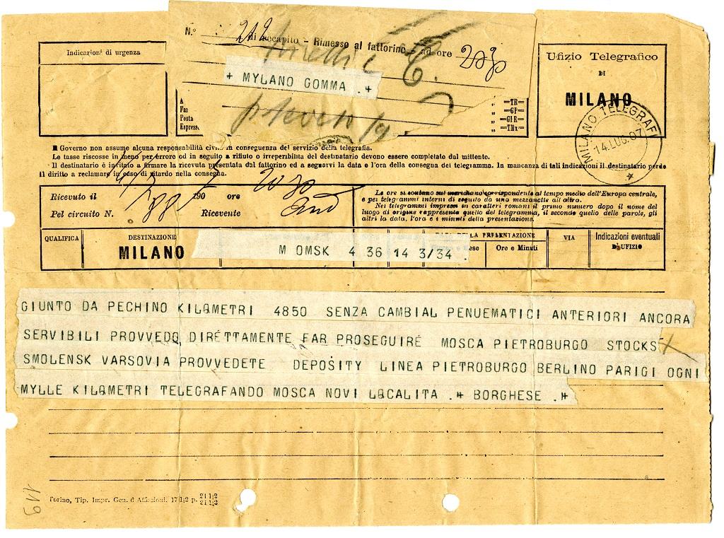 3 - Telegramma di Scipione Borghese a Giovanni Battista Pirelli, Pechino-Parigi 1907