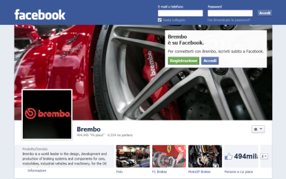 Brembo: raggiunti 500mila fan su Facebook