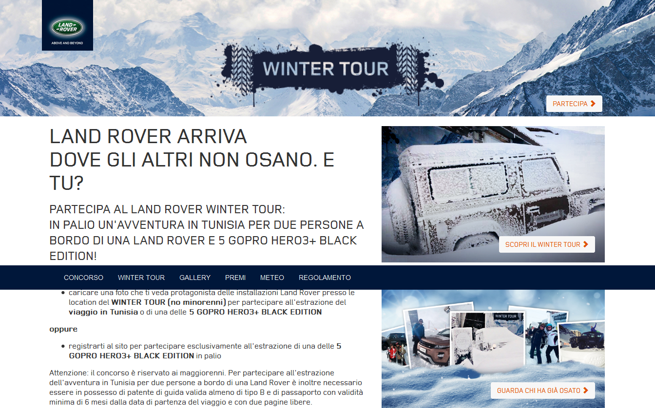 "Land Rover: Winter Tour e ""Temporary Space"""