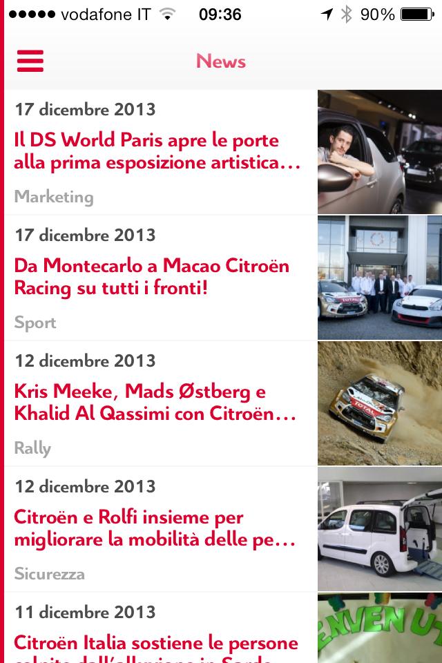 """App """"CitroënNews"""" 2014: nuove funzionalità"""
