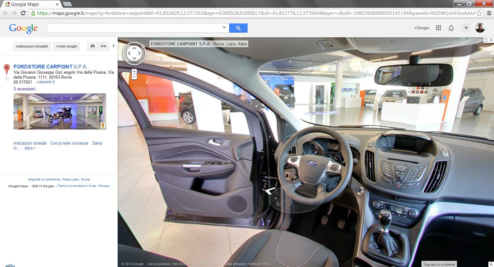 Il FordStore Carpoint di Roma in Google Maps