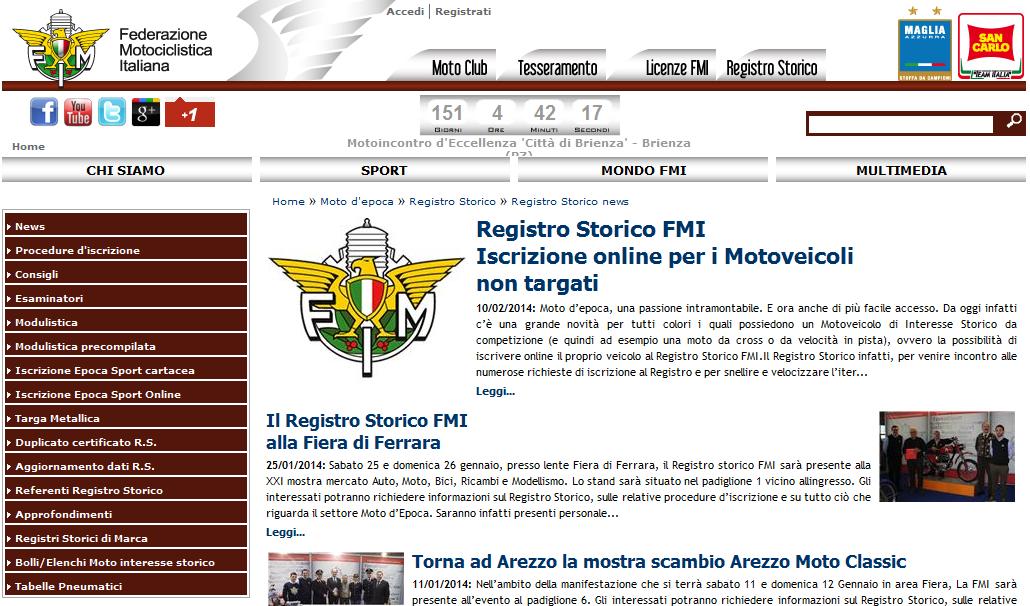 Registro Storico FMI: iscrizione online