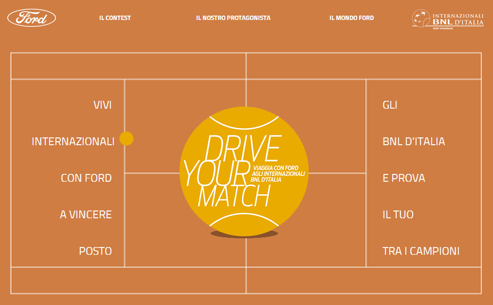 Con Ford 'Drive Your Match' vinci il grande tennis