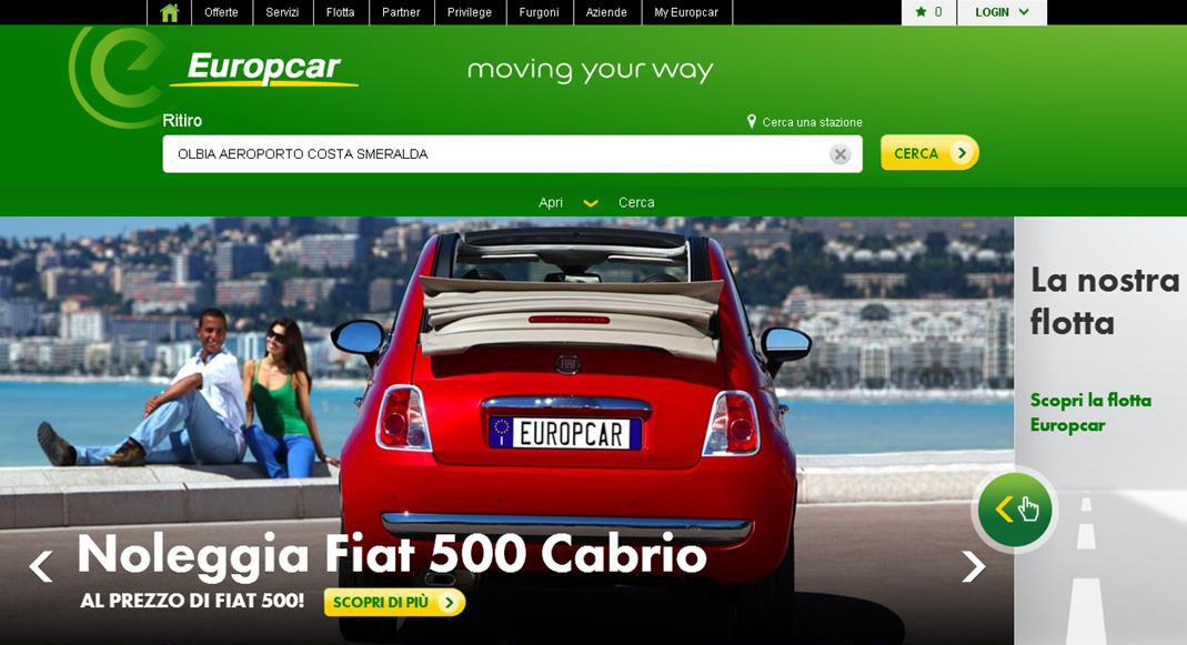 Da Europcar una promozione su 500 Cabrio