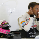 Jenson Button in the garage.