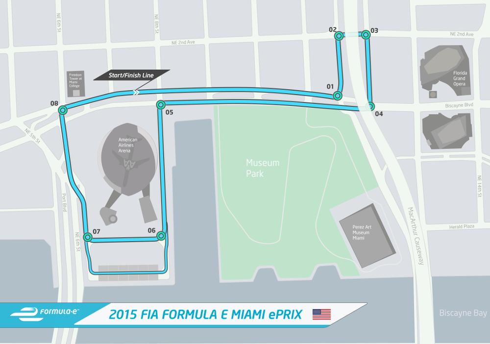 Formula E: il circuito del Miami ePRIX