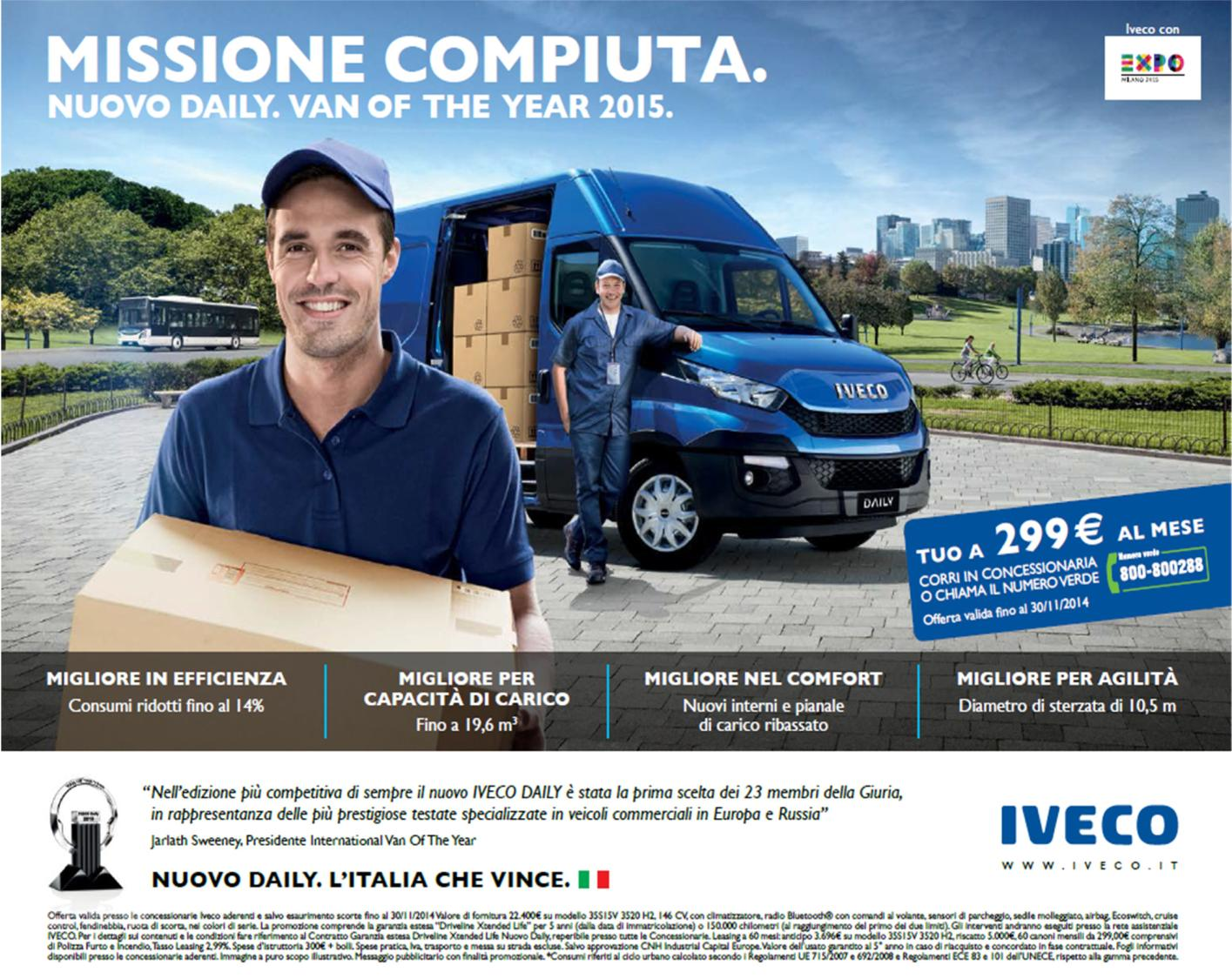 """Missione compiuta. Nuovo Daily. Van of the Year 2015"""