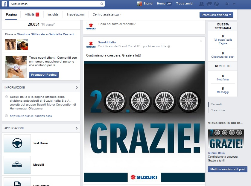 Suzuki Auto Italia: 20.000 fans su Facebook