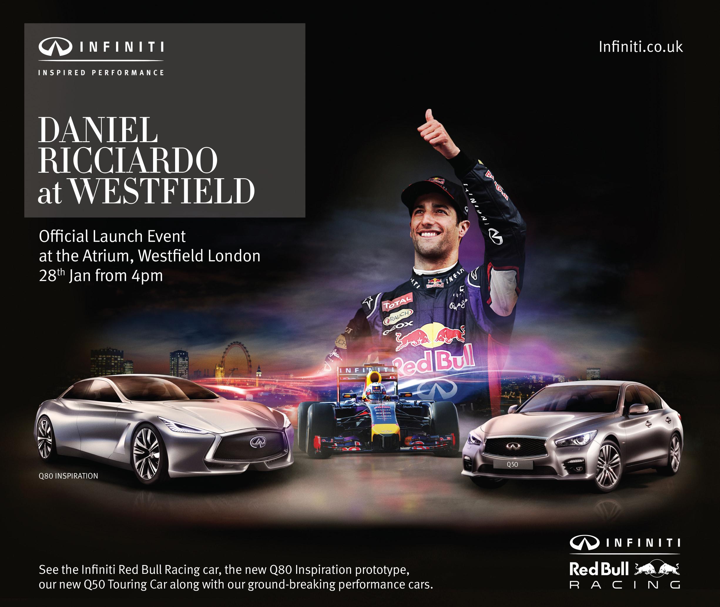 Daniel Ricciardo darà il via all'INFINITI EXHIBITION