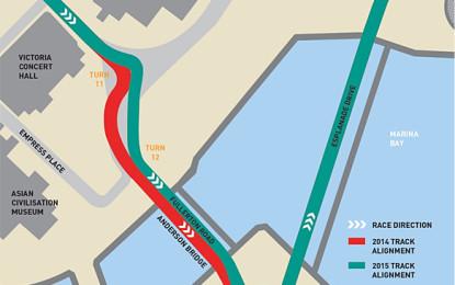 F1: Singapore modifica tre curve