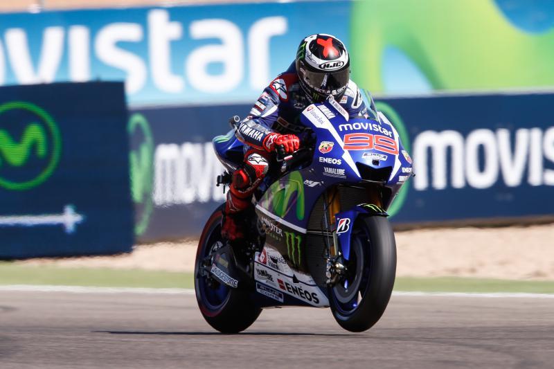 Aragon: Lorenzo, Pedrosa, Rossi. Out Marquez
