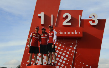 Ferrari drivers at the Santander headquarters