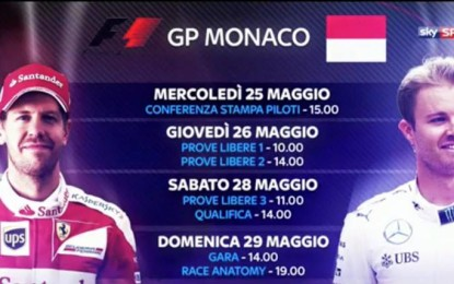 GP Monaco: da oggi via al weekend su Sky