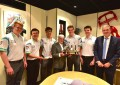Ecclestone presents his trophy to F1 in Schools champions