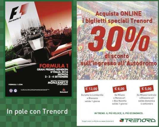 In pole con Trenord a Monza per il GP d'Italia di F1