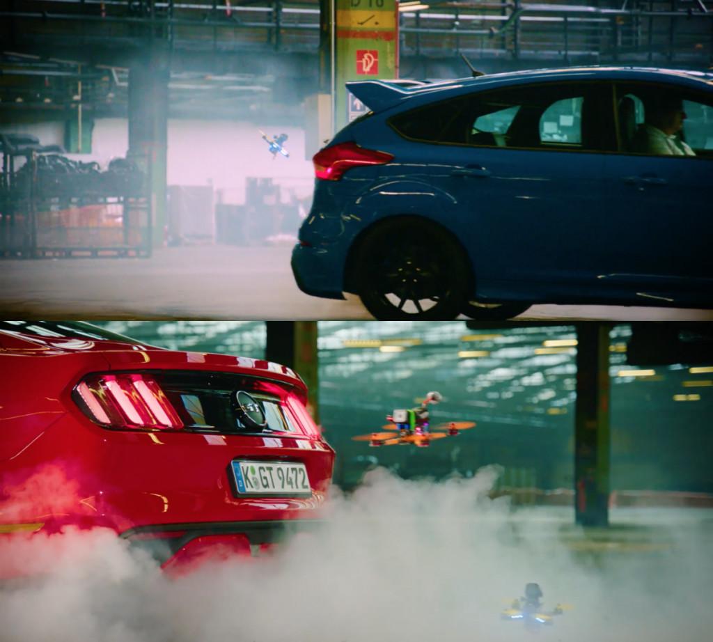 """Dronekhana"": sfida tra droni, Mustang, Focus RS e robot"