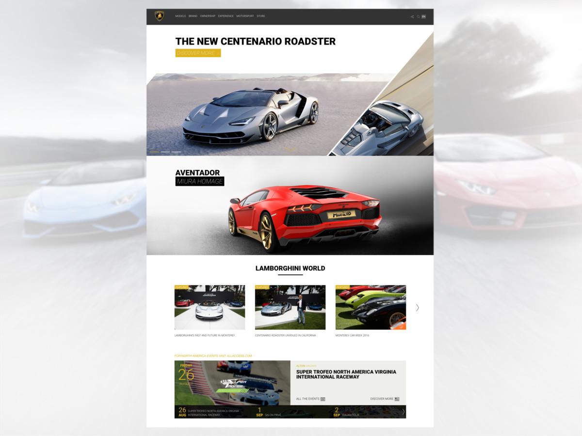 Online il nuovo sito Lamborghini.com