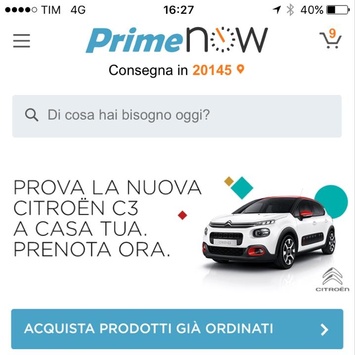 Nuova Citroën C3: test drive con Amazon Prime Now