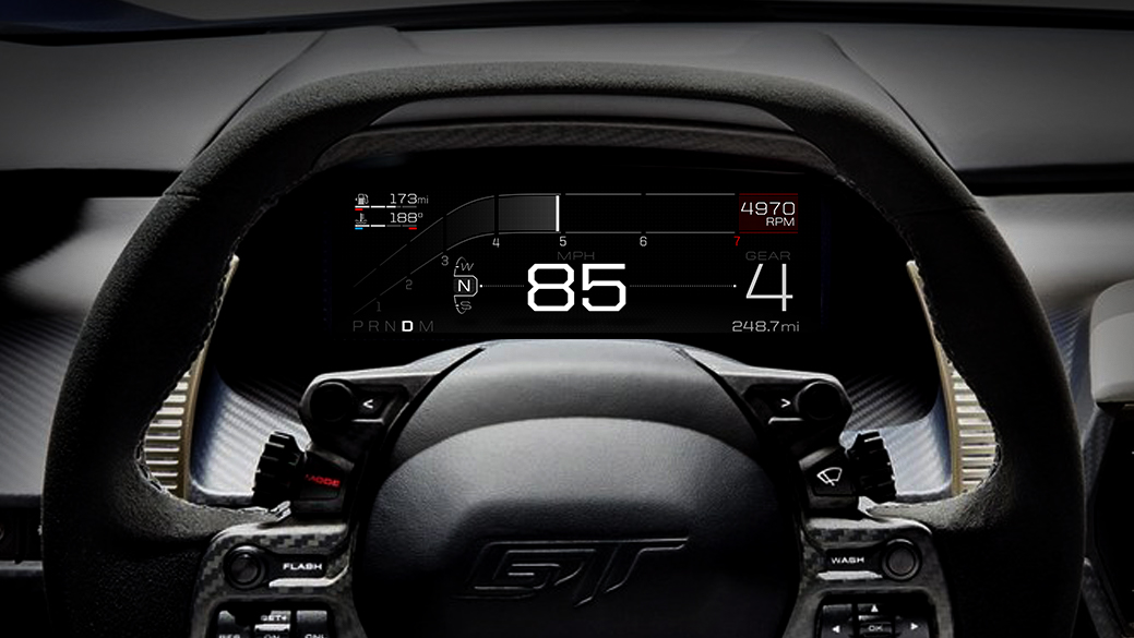 Ford GT e il display digitale adattivo