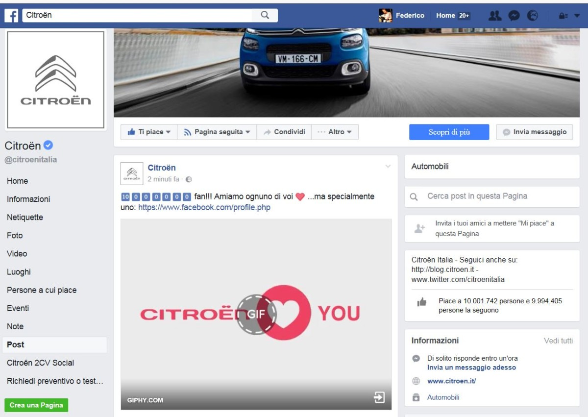 10 milioni di fan Citroën su Facebook