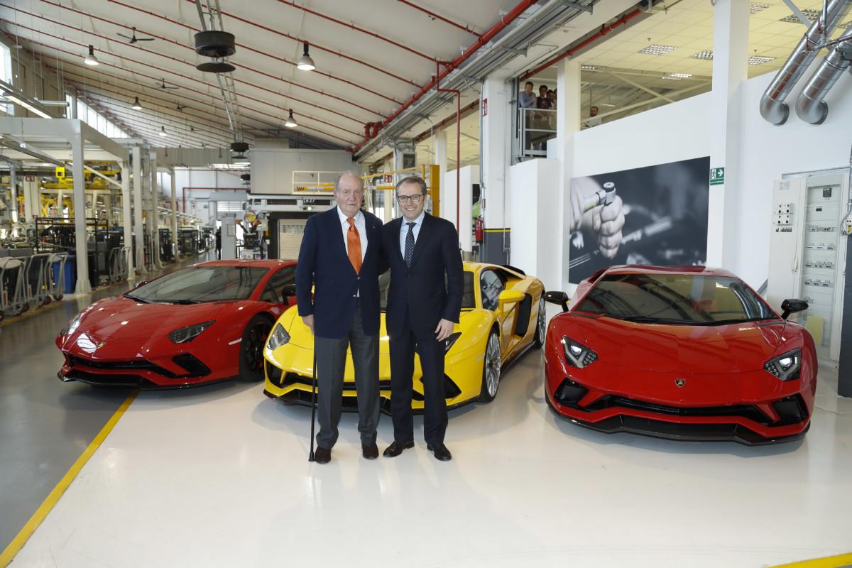 Juan Carlos I di Borbone in visita alla Lamborghini