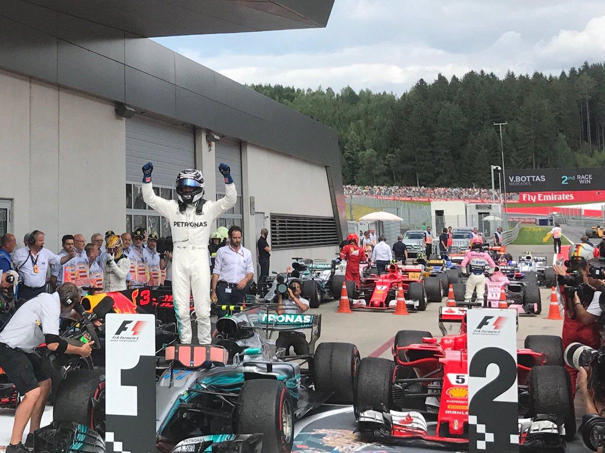 #AustrianGP: Bottas vince dalla pole, sul podio Vettel e Ricciardo