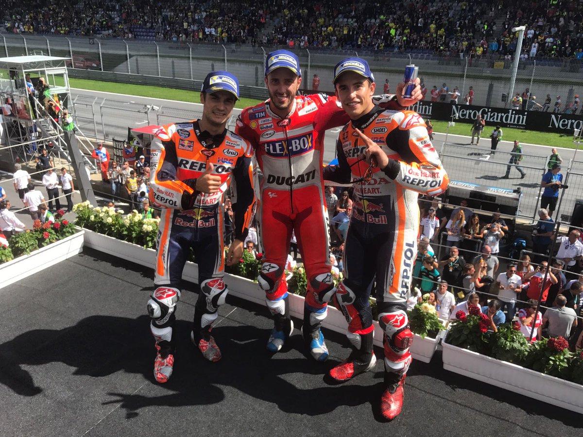 Dovizioso vince in Austria davanti a Marquez e Pedrosa. Rossi 7°