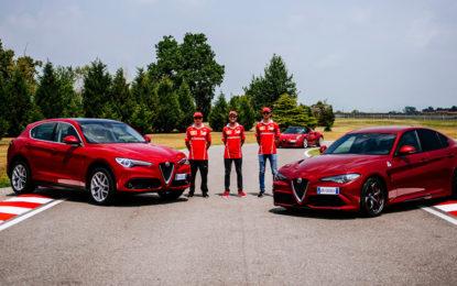 I tre piloti Ferrari in pista con Alfa Romeo Giulia Quadrifoglio