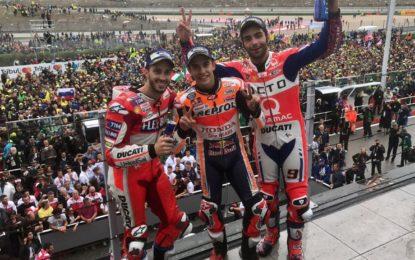 MotoGP: Marquez, Petrucci e Dovizioso sul podio di Misano