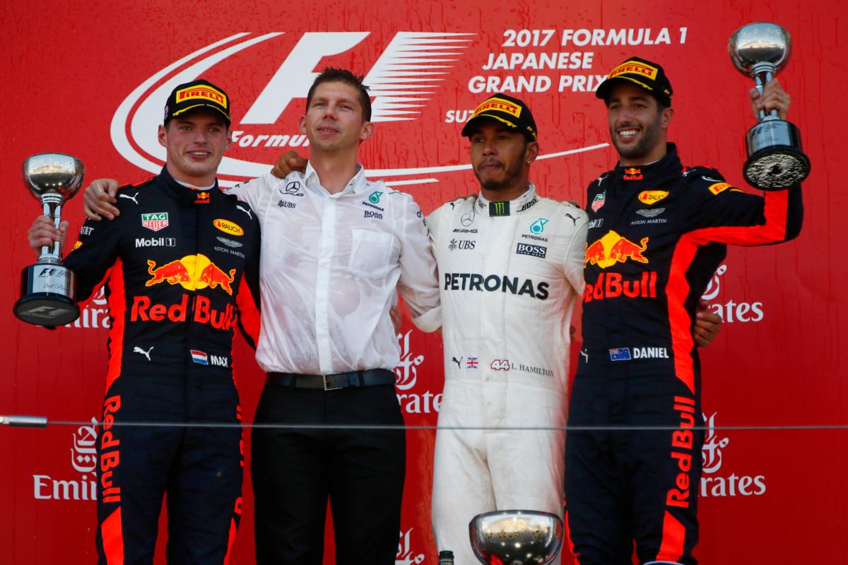 Giappone: Hamilton, Verstappen e Ricciardo dopo il podio