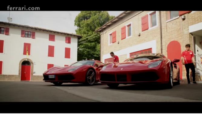 Fuoco, Leclerc e la 488 GTB in pista a Fiorano