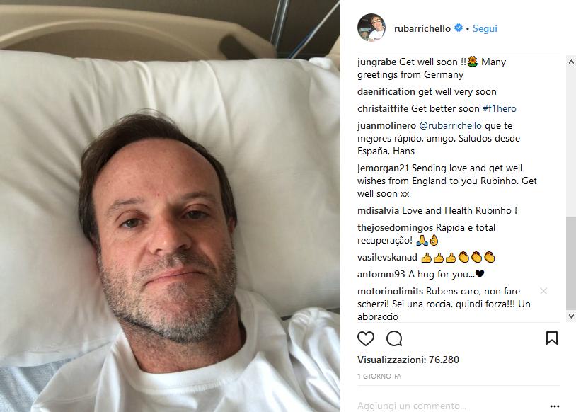 Paura passata per Barrichello che rassicura i fans
