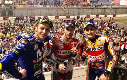 MotoGP: Dovizioso. Marquez e Rossi sul podio del Qatar