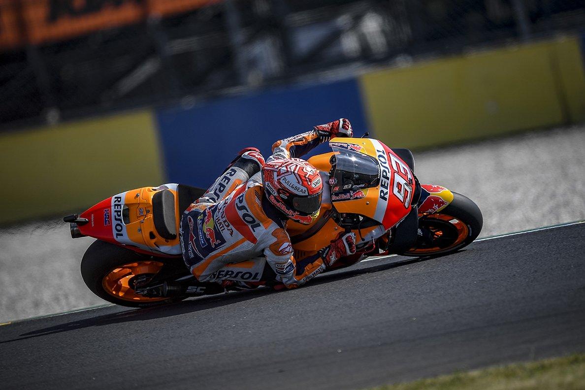 Marquez, Petrucci e Rossi a Le Mans, nel GP delle cadute
