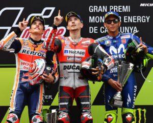 Catalunya: bis di Lorenzo, Marquez 2° e terzo podio per Rossi