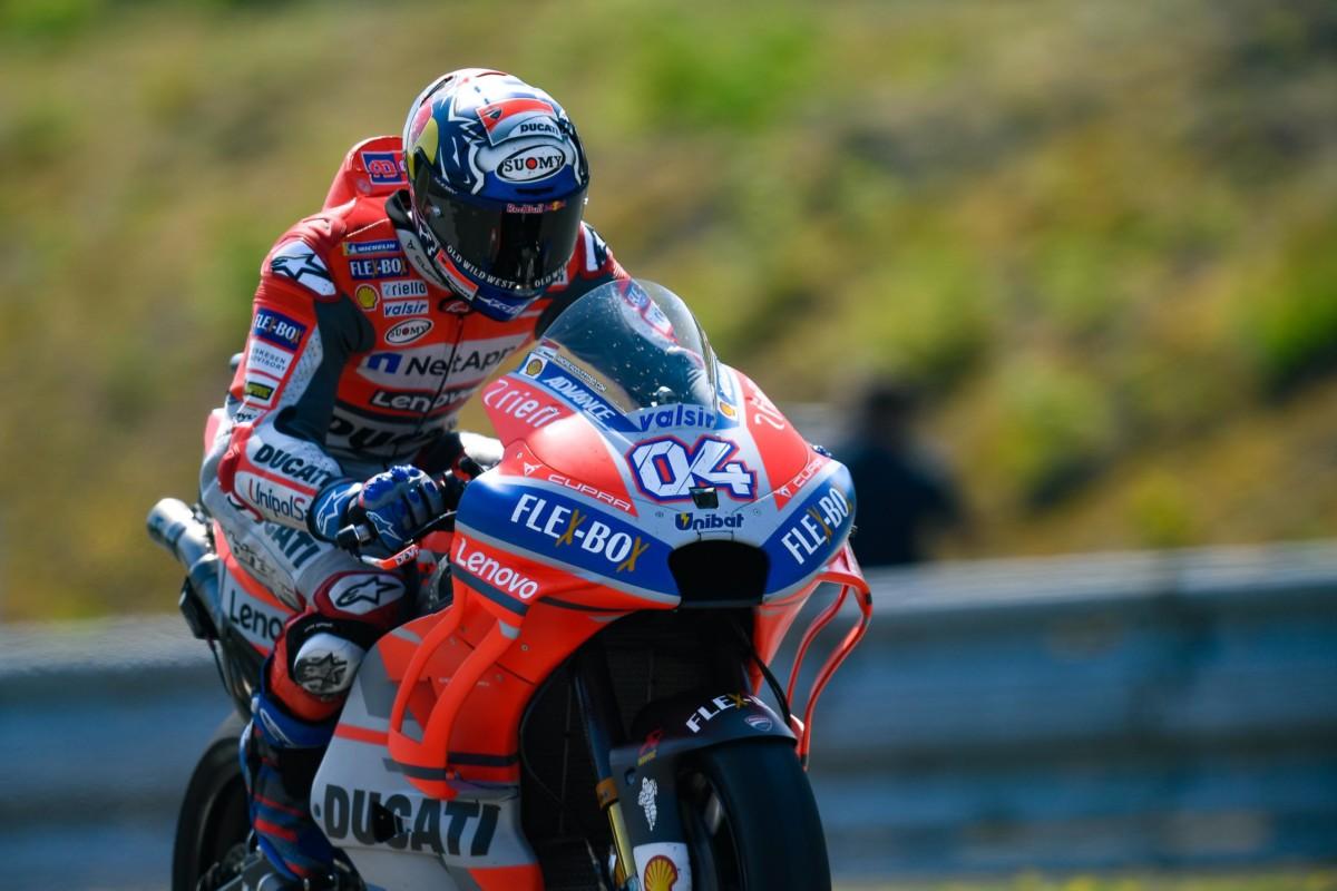 Dovizioso, Rossi e Marquez nelle qualifiche di Brno