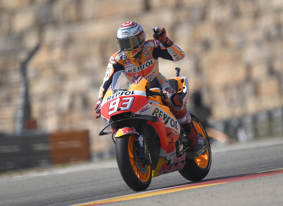 Aragon: Marquez, Dovizioso e Iannone sul podio. Rossi 8°