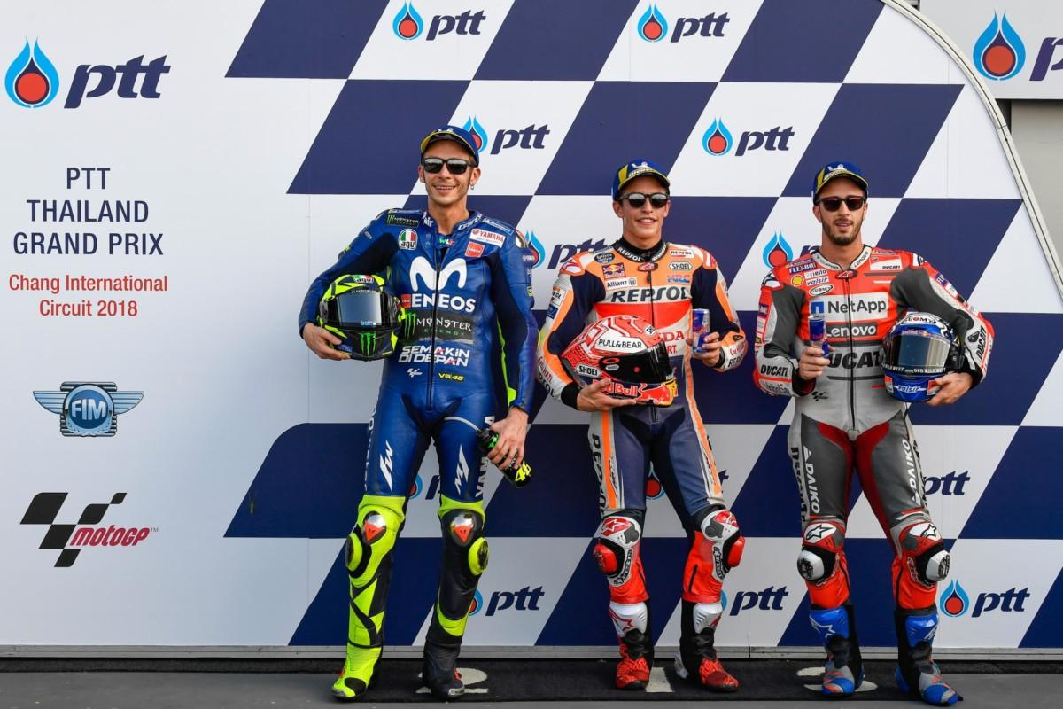 Thailandia: Marquez in pole, con Rossi e Dovizioso in agguato