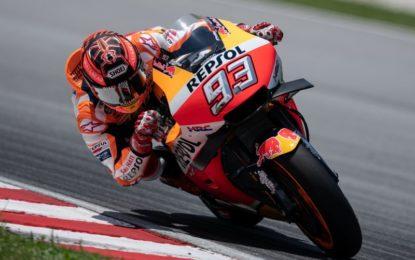 Marquez davanti nel primo giorno in pista a Sepang