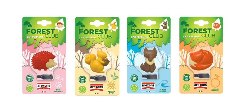 Forest Club by Arexons: animaletti che profumano l'auto