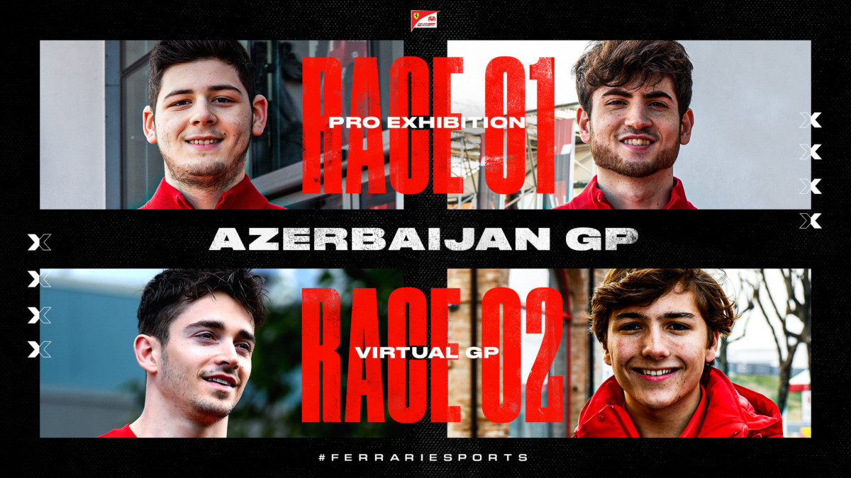 Virtual Azerbaijan GP con Leclerc, Fittipaldi, Tonizza e Bonito