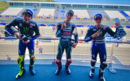 Andalusia: podio Yamaha con Quartararo, Viñales e Rossi