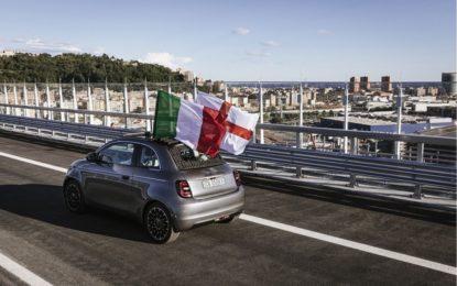 Nuova Fiat 500 sul nuovo ponte Genova San Giorgio