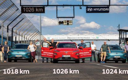 Record di autonomia per Hyundai Kona Electric: 1.026 km con una carica