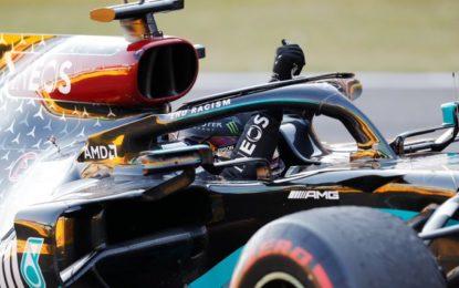 Hamilton fa 90 in un pazzo GP di Toscana. A podio Bottas e Albon. Ferrari 8° e 10°. Su 12