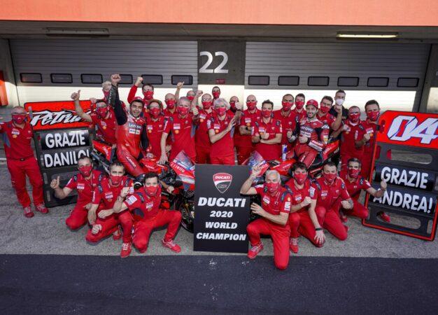 Ducati Campione Costruttori 2020 saluta Dovizioso e Petrucci