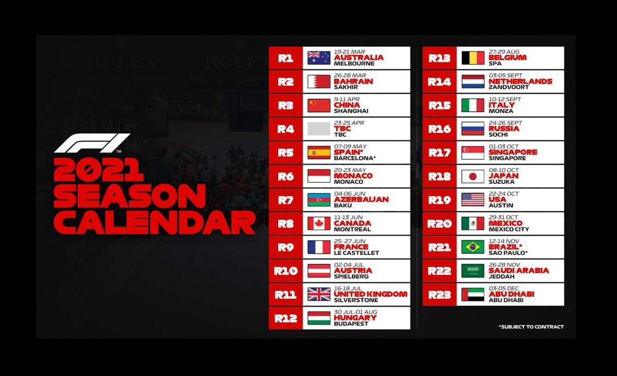 F1: pubblicato il calendario provvisorio 2021